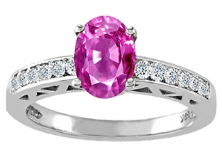 Genuine Pink Tourmaline and Diamond Solitaire Engagement Ring