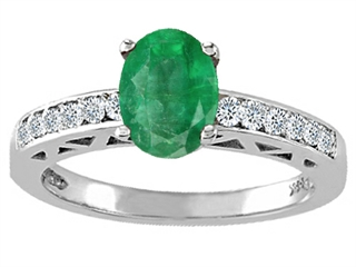 Genuine Emerald and Diamond Solitaire Engagement Ring