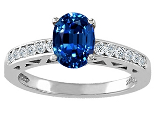 Tommaso Design(tm) Oval 8x6mm Created Sapphire and Diamond Solitaire Engagement Ring