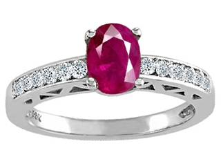 Genuine Ruby and Diamond Solitaire Engagement Ring