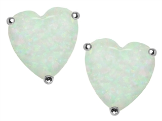 Star K 7mm Heart Shape Created Opal Earrings Studs