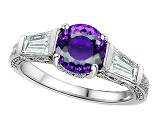 Star K Round 7mm Genuine Amethyst Ring