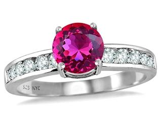 Star K Round 7mm Simulated Pink Tourmaline Ring