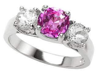 Star K 925 Simulated Round Pink Tourmaline Ring