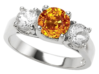 Star K 925 Genuine Round Citrine Ring