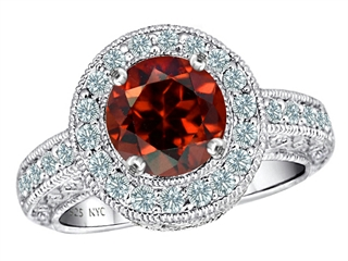 Star K 7mm Round Simulated Garnet Ring