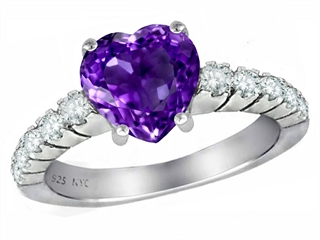 Original Star K 8mm Heart Shape Genuine Amethyst Ring