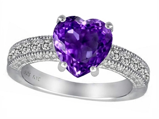 Star K 8mm Heart Shape Genuine Amethyst Ring