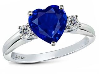 Star K 8mm Heart Shape Created Sapphire Ring