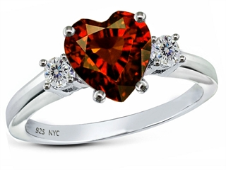 Star K 8mm Heart Shape Simulated Garnet Ring