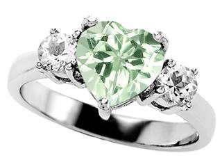 Original Star K Genuine 7mm Heart Shape Green Amethyst Ring