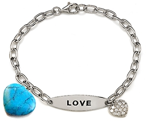 14k gold plated 925 Sterling Silver Turquoise Charm Love Bracelet