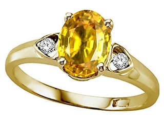 Lab Created Oval Yellow Sapphire and Diamond Ring