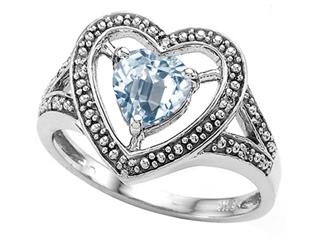 Tommaso Design Heart Shape 6mm Genuine Aquamarine Ring
