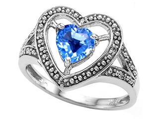 Tommaso Design Heart Shape 6mm Genuine Blue Topaz Ring