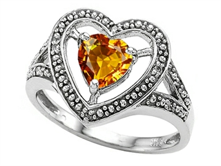 Tommaso Design Heart Shape 6mm Genuine Citrine Ring
