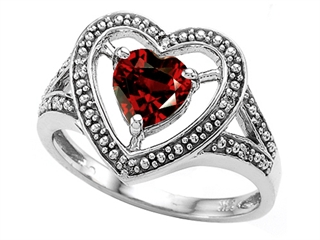 Tommaso Design Heart Shape 6mm Genuine Garnet Ring