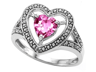 Tommaso Design Heart Shape 6mm Created Pink Sapphire Ring