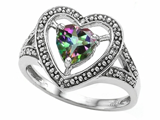 Tommaso Design Heart Shape 6mm Mystic Rainbow Topaz Ring