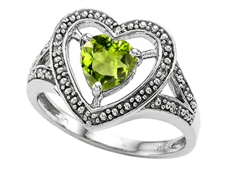 Tommaso Design Heart Shape 6mm Genuine Peridot Ring