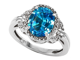Tommaso Design Oval 10x8mm Genuine Blue Topaz Ring