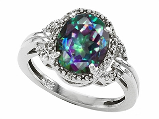 Tommaso Design Oval 10x8mm Mystic Rainbow Topaz Ring