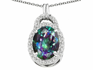Tommaso Design Oval 10x8mm Mystic Rainbow Topaz Pendant Necklace