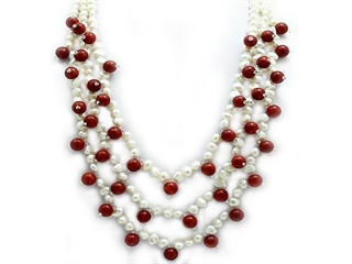22 Inch Genuine Coral and Pearls 3 Row Necklace