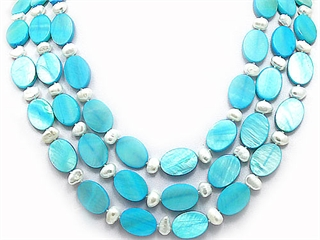 Genuine 58 Inch Long Pearl and Blue Mother of Pearl Necklace