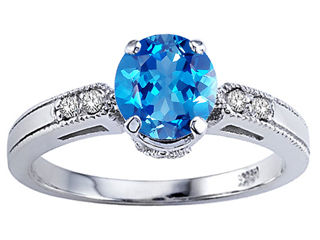 Tommaso Design Round 7mm Genuine Blue Topaz Engagement Ring