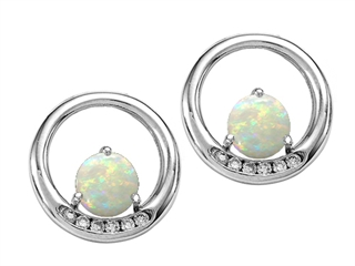 Tommaso Design Round 5mm Genuine Opal Earrings