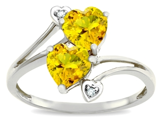 Tommaso Design Heart Shape 6 mm Genuine Citrine Ring