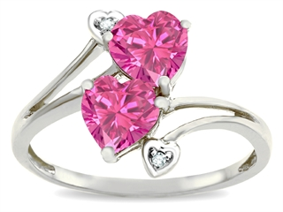 Tommaso Design Heart Shape 6 mm Simulated Pink Tourmaline Ring