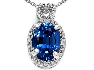 Tommaso Design Oval 8x6mm Created Sapphire Pendant Necklace