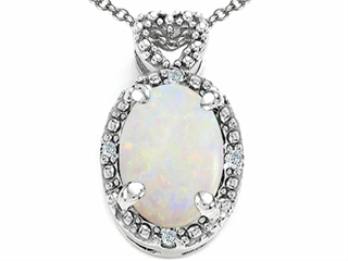 14k Gold Genuine Oval Opal and Diamond Pendant