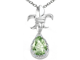 Tommaso Design Pear Shape 8x6mm Green Amethyst Pendant Necklace