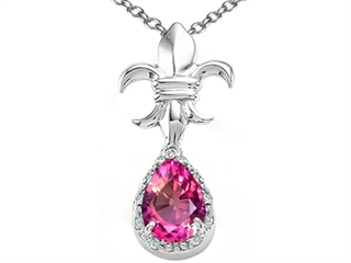 Tommaso Design Pear Shape 8x6mm Created Pink Sapphire Pendant Necklace