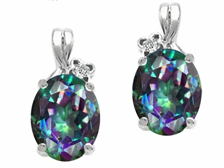 Tommaso Design Oval 8x6mm Mystic Rainbow Topaz Earrings