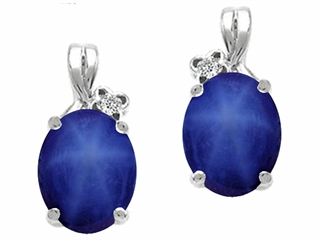 14k Gold Lab Created Oval Star Sapphire and Diamond Earrings