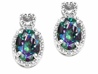 Tommaso Design Oval 7x5mm Mystic Rainbow Topaz Earrings