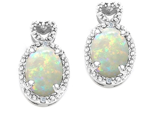 Tommaso Design Oval 7x5mm Genuine Opal Earrings