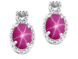 14k Gold Lab Created Oval Star Ruby and Diamond Earrings