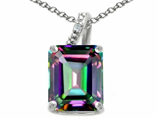 Tommaso Design Emerald Cut 10x8mm Mystic Rainbow Topaz Pendant Necklace