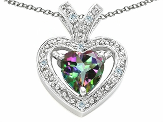 Tommaso Design Heart Shape 6 mm Mystic Rainbow Topaz Pendant Necklace