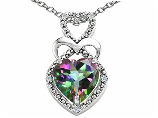 Tommaso Design Heart Shape 8 mm Mystic Rainbow Topaz Pendant Necklace
