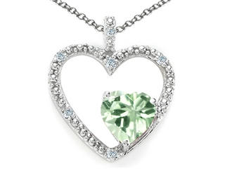 Tommaso Design Heart Shape 6 mm Green Amethyst Pendant Necklace
