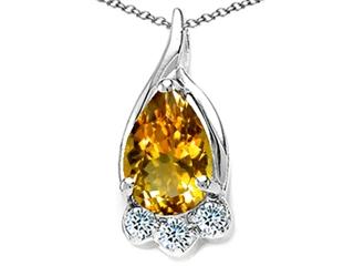 14k Gold Genuine Pear Shape Citrine and Diamond Pendant