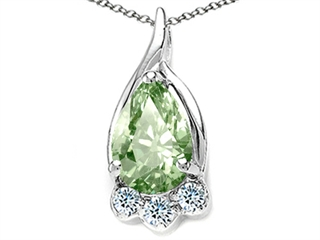 Tommaso Design Pear Shape 7x5mm Green Amethyst Pendant Necklace