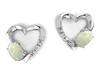 Tommaso Design Oval 5x3mm Genuine Opal Heart Earrings