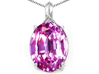 Tommaso Design Created Oval Pink Sapphire Pendant Necklace